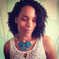 Blue Violet Necklace with Antler Beads - Handmade & Eco friendly
