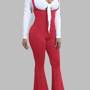 Red Shoulder-Strap Pleated Bell-bottoms Overall Pants Vintage Long Jumpsuit