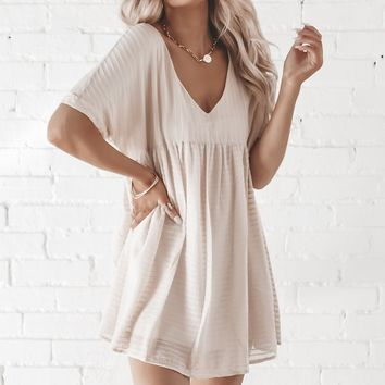 Pretty Please Short Sleeve Natural Babydoll Lined Dress