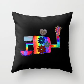 Colored fireworks machinery | Kids Painting by Elisavet Throw Pillow by Azima