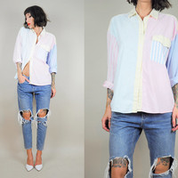 Pastel PATCHWORK 90's Pinstriped & Windowpane Plaid Oversized 80's Grunge Boyfriend Shirt Slouchy Paper thin os