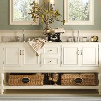 Newport Double Sink Console - White