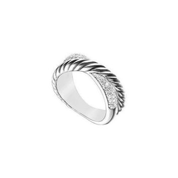 Diamond Twisted Crossover Ring : 14K White Gold - 0.50 CT Diamonds