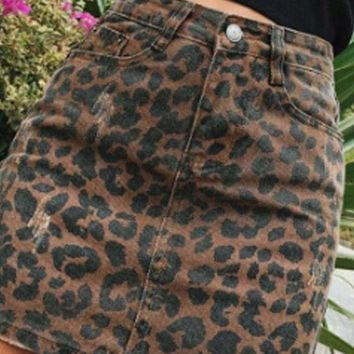 Wild Child Leopard Denim Skirt
