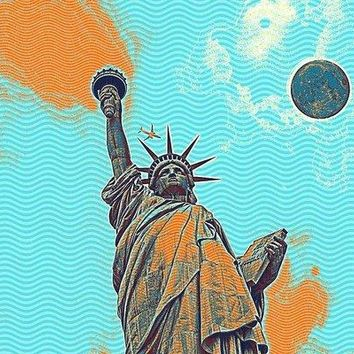The Fool Blood Moon And The Lady Liberty  5 - Art Print
