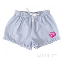 Monogrammed Seersucker Lounge Shorts | Marleylilly