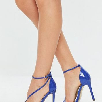 Missguided - Blue Asymmetric Sandals
