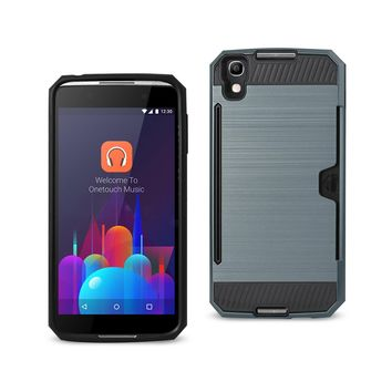 New Alcatel One Touch Idol 4 Slim Armor Hybrid Case With Card Holder In Navy