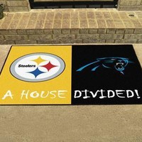 Pittsburgh Steelers/Carolina Panthers NFL House Divided Rugs 33.75x42.5