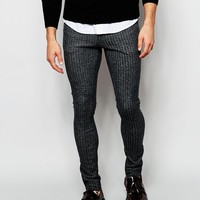 ASOS Extreme Super Skinny Trousers In Herringbone