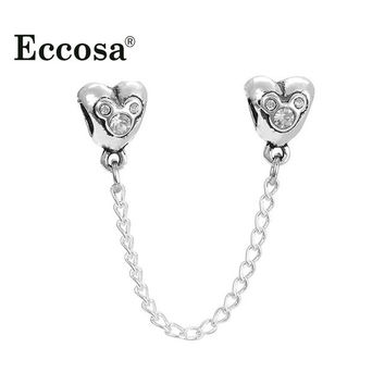 Fits Pandora Bracelets Heart of Mickey Safety Chain Beads European Silver Plated Charm Bead For Diy Jewelry Making
