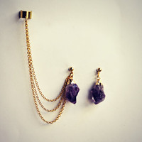 Amethyst ear cuff earrings