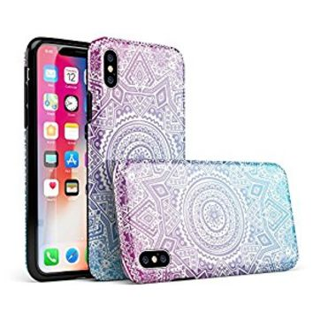 Tribal Ethnic Mandala v5 iPhone X Swappable Tough Two-Piece Hybrid Case - Gloss Shell/Black Liner