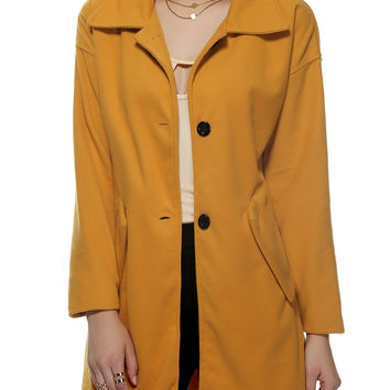 Turn-Down Collar Long Sleeve Woolen Buttoned Overcoat