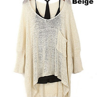 Women's European Style Fashion Loose Bat Sleeve Knit Pullover Sweatershirt = 1920408388