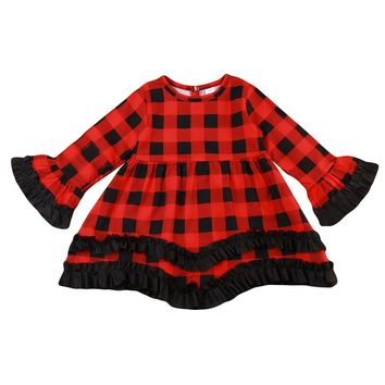 Toddler Baby Girls Kids Dress Autumn Princess Flare Red Plaid Children Long Sleeve Party Gowm Ruffle Girl Clothing Dresses