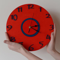 Large red blue wall clock Kids room Home Office Kitchen Wall art Children room Christmas gift