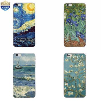 Phone Case For Apple iPhone 5 5C SE 6 6S Plus Back Cover 4.7 5.5 Inch Soft TPU Shell Cellphone Van Gogh Design Painted
