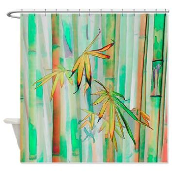 Orange and Green Bamboo Shower Curtain> Tropical> Tropical Design Studio