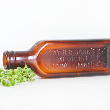 Vintage Father John's Medicine Bottle, Amber Glass, Apothecary Medicine Cabinet Bathroom Decor