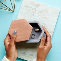 Mimo Hexagon Concrete & Rose Gold Jewelry Box at asos.com