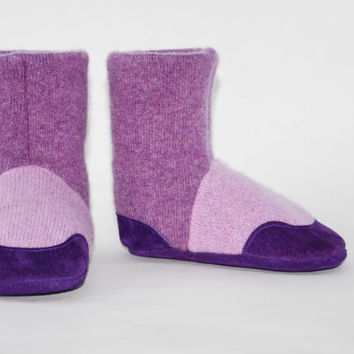 Kids Slipper Socks, Toddler Cashmere Booties, Children Cashmere Shoes, Eco Friendly Boots. Size: USA kids 7.5 to youth 2.5. Sugar Plum