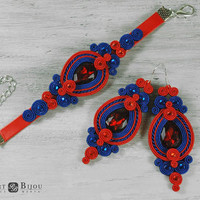 Soutache set Soutache earrings Red sotache Sapphire soutache Soutache bilateral Dangle earrings Boucles d'oreilles soutache Soutage