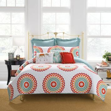 Anthology™ Bungalow Reversible Quilt in Coral/White