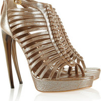 Alexander McQueen Multi-strap cracked-leather sandals – 65% at THE OUTNET.COM