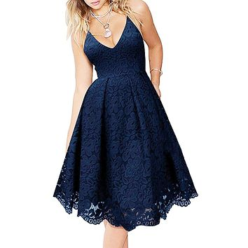 Blue Lace V Neck Backless Cocktail A-Line Dress
