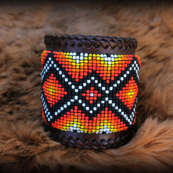 Beaded wide cuff adjustable leather bracelet