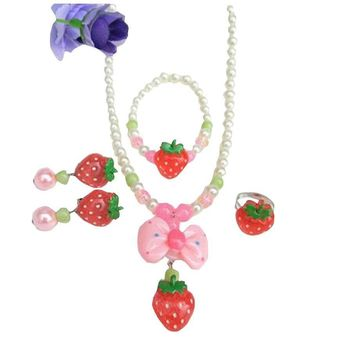 Lovely Strawberry Girl Bracelet/Necklace/Ear Clips/Ring Set with Box
