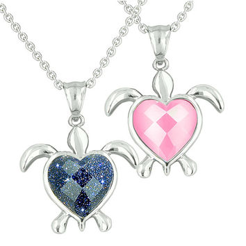 Love Couple Turtle Heart Charm Yin Yang Blue Goldstone Candy Pink Cats Eye Pendant Necklaces