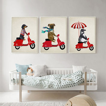 Dog Ride Motorcycle Cartoon Animal Canvas Print Painting Poster Wall Art Picture