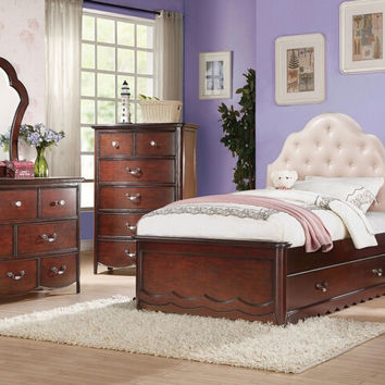 Acme 30265F 4 pc Cecilie cherry finish wood tufted headboard full bedroom set