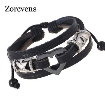 ZORCVENS 2018 Fashion Handmade Braided Black and Brown Leather with Black Heart Wedding Bracelet for Men Women