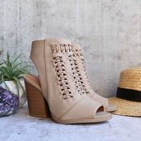 woven chunky heeled vegan nubuck bootie - light taupe
