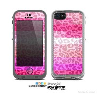 The Hot Pink Striped Cheetah Print Skin for the Apple iPhone 5c LifeProof Case