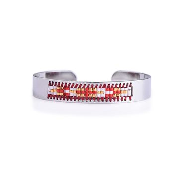 Shaman's Eye Diamond Red and Gold Seed Tribal Bead Bangle
