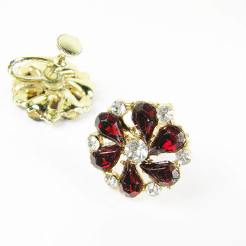 Vintage Red Rhinestone Earrings / Vintage Wedding - Boucles d'Oreilles.