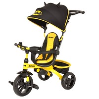 Kids Batman 4-in-1 Push and Ride Stroller Tricycle with Foldable Roof