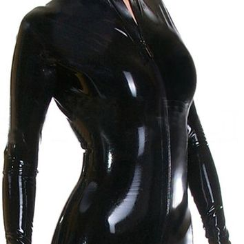 AvaCostume Women's Black Latex Rubber Catsuit Bodysuit Unitard