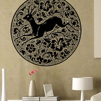Vinyl Wall Decal Sticker Deer Flowers Circle #5317