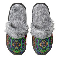 Neon Doodle Pattern Slippers | Zazzle.com