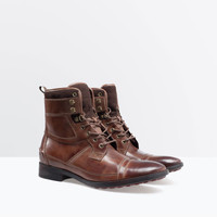 Leather and felt worker bootie