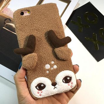 cute deer furry iphone 6 6s plus case gift 135  number 1