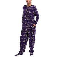 Baltimore Ravens Highlight Ladies Microfleece Union Suit - Purple