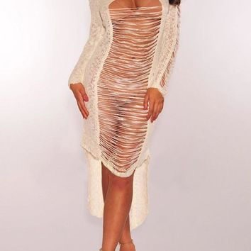 White Cut Out Irregular High-low Ripped Destroyed Bohemian Cover-Up Bikini Smock Midi Dress