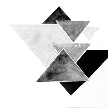 Free Shipping! Triangle Geometric Watercolor Painting or Print / geometric art / black triangles #geometric #triangles  #etsy #blackandwhite