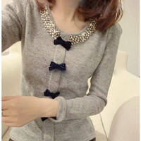 New Style Summer Women Fashion Round Neck Sexy Long Sleeve Knit Shirt = 1958432964